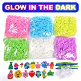 VICOVI 3700+ Rainbow Rubber Bands Glow in The Dark Set Included: 3600+ Premium Quality Loom Bands in 6 Colors + 100 S-Clips + 15 Lovely Charms + 6 Crochet Hooks, No Loom Board Included. (Color: 6 Colors Glow in The Dark, Tamaño: 3700+)