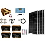WindyNation 400 Watt (4pcs 100W) Solar Panel Kit + 1500 Watt VertaMax Power Inverter + AGM Battery Bank for RV, Boat, Cabin, Off-Grid 12 Volt Battery System (Tamaño: 400W Solar Kit + Inverter + 400ah Battery)