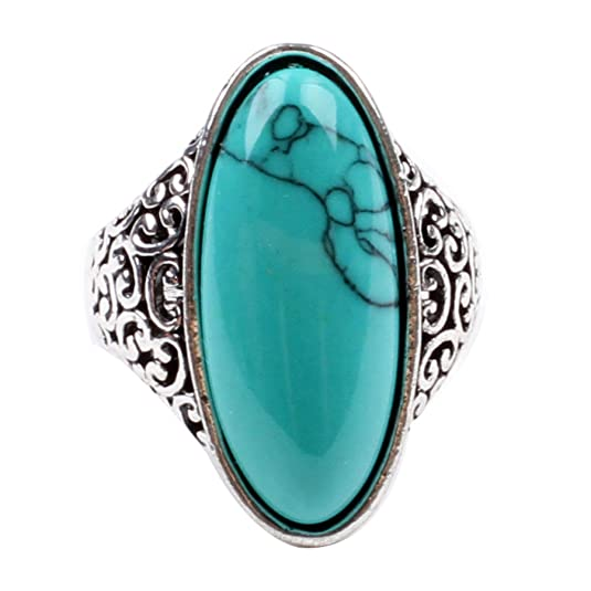 Ca Women's Fashion Cubic Zircon Turquoise Ring