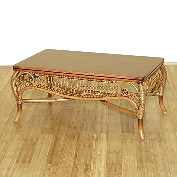 Solid Wood & Rattan Elizabethan Rectangular Coffee Table