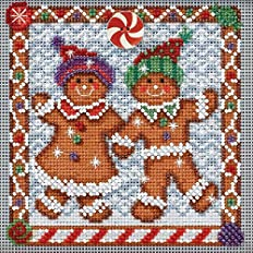 Mill Hill Button & Beads Christmas Counted Cross Stitch Kit w/ Glass Beads & Ceramic Button Ginger Friends MH144301