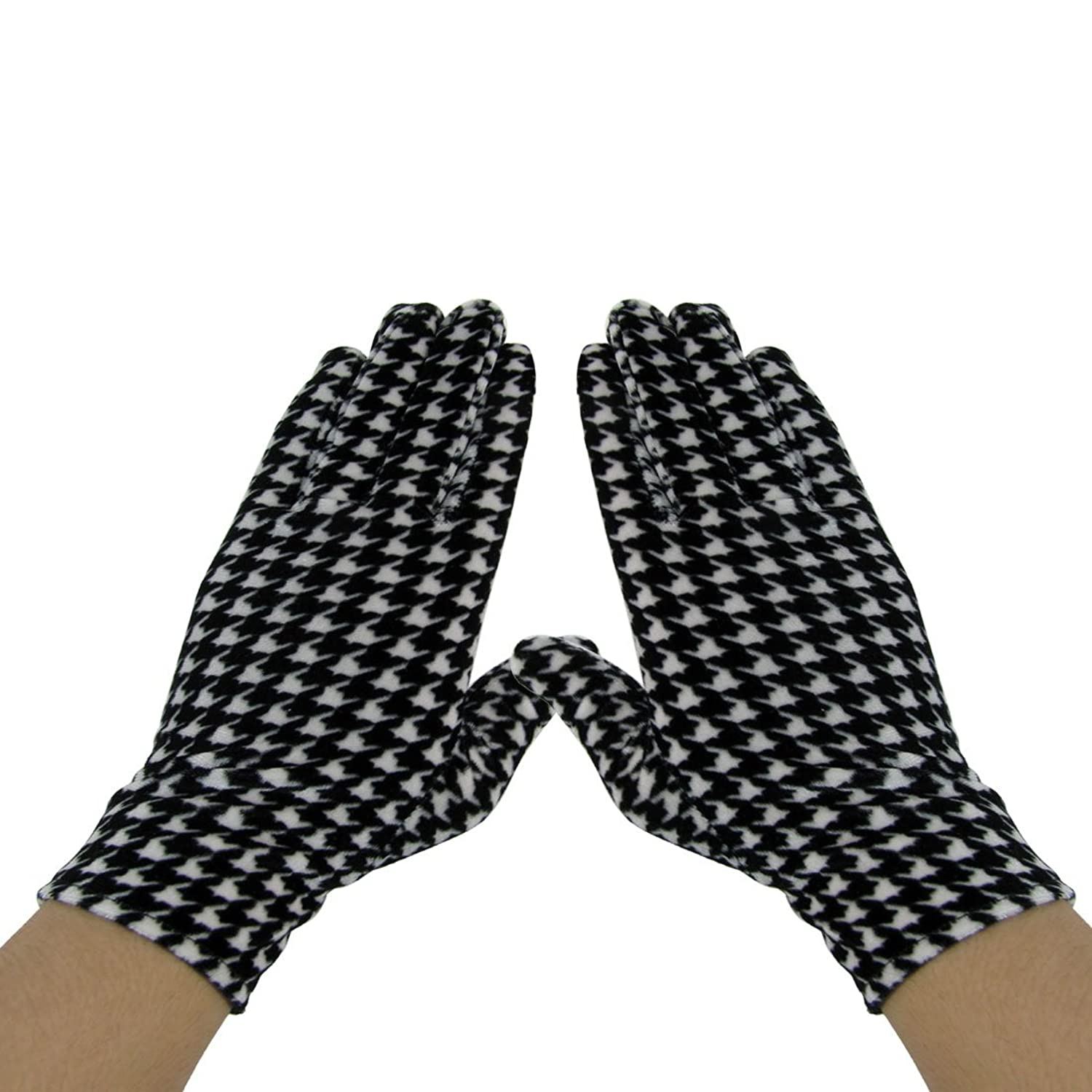 Ladies Pair Houndstooth Printed Full Fingers Warm Gloves Black White allegra k ladies cat pattern button closure upper unlined shirt dresses w belt