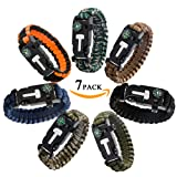 Epartswide Multifunctional Outdoor Survival Paracord Bracelet with Flint Fire Starter,Compass,Emergency Whistle&Knife/Scraper Pack of 7 (Color: Mixed color)