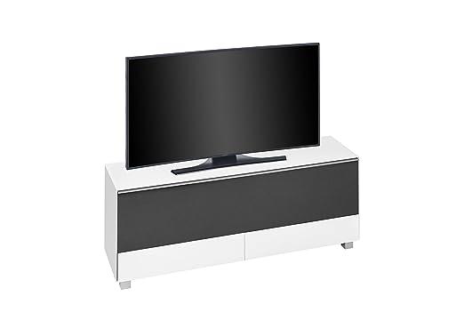 Brandneues Soundboard MAJA TV-Board Weißglas matt / Akustikstoff Schwarz 160x60x42cm verfugbar ab KW 07/2017