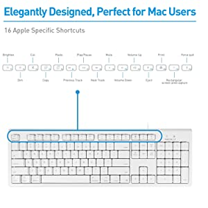Macally Full Size USB Wired Keyboard & Mouse Combo for Mac Mini Pro, iMac Desktop Computer, MacBook Pro Air Laptops - Mac Compatible Apple Shortcuts, Extended with Number Keypad, Rubber Dome Keycaps (Color: WHITE)