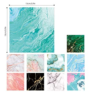 Paperkiddo 100 Sheets Origami Paper Craft Folding Paper 10 Different Marble Pattern Bronzing Curve Premium Quality for Arts and Crafts 6x6 (Color: Marble)