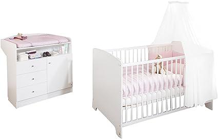 Pinolino Sparset Jil, 2-teilig, Kinderbett (140 x 70 cm) und Wickelkommode mit Wickelansatz, weiß (Art.-Nr. 09 00 90)