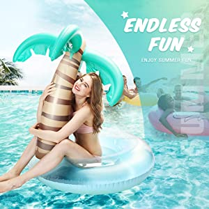 Outdoor Water Lounge for Adults /& Kids Summer Party Tube Inflatable Raft Hill /& Amber Palm Tree Pool Float with A Detachable Play Ball Giant Inflatable Pool floats