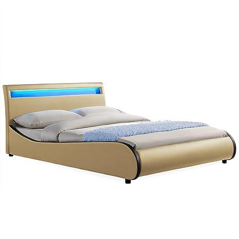 Corium® Cama elegante tapizada en piel sintética - con sistema de iluminación LED - 180x200cm (beige-negro)