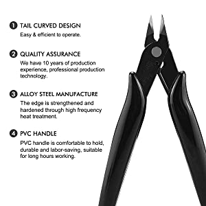 BOENFU Wire Cutters, Flush Cutter 5 Inch, Zip Tie Cutter Wire Snips - Black