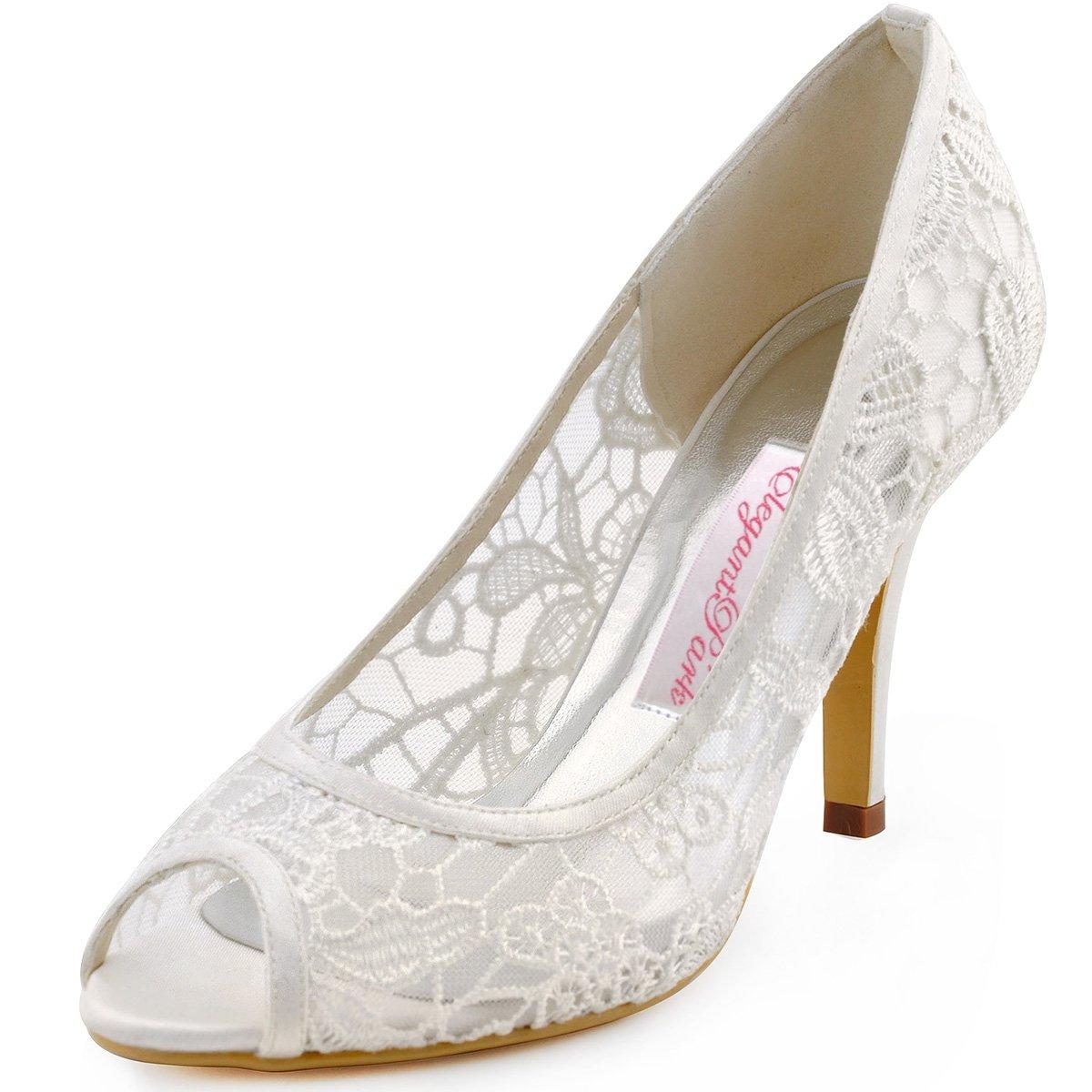 ElegantPark Ivory Women Peep Toe High Heel Pumps Vintage Lace Wedding Dress Shoes 0