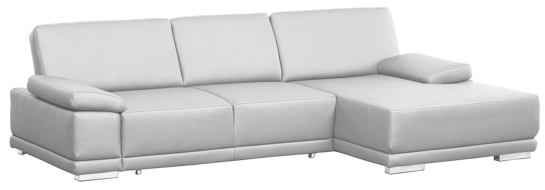 Lederecke Corianne/3er Bett-Longchair/282x80x162 cm/Leder Punch reinweiss-Poroflex softy reinweiss