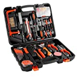 General Household Hand Tool Kit, LUCKYKS 100 Piece Multi Functional Socket Wrench Auto Repair Tool Set, Precision Screwdriver Hammer Set for Household Electronics Test Repair Maintenance(100 pcs) (Color: Black & red, Tamaño: 10.6in*14.56in*3.14in)