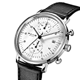 FEICE Quartz Watch Men's Analog Wrist Watch Stainless Steel Leathers Bands Waterproof Watches for Men Casual Business Best Gift #FS021 (White) (Color: Black+White)