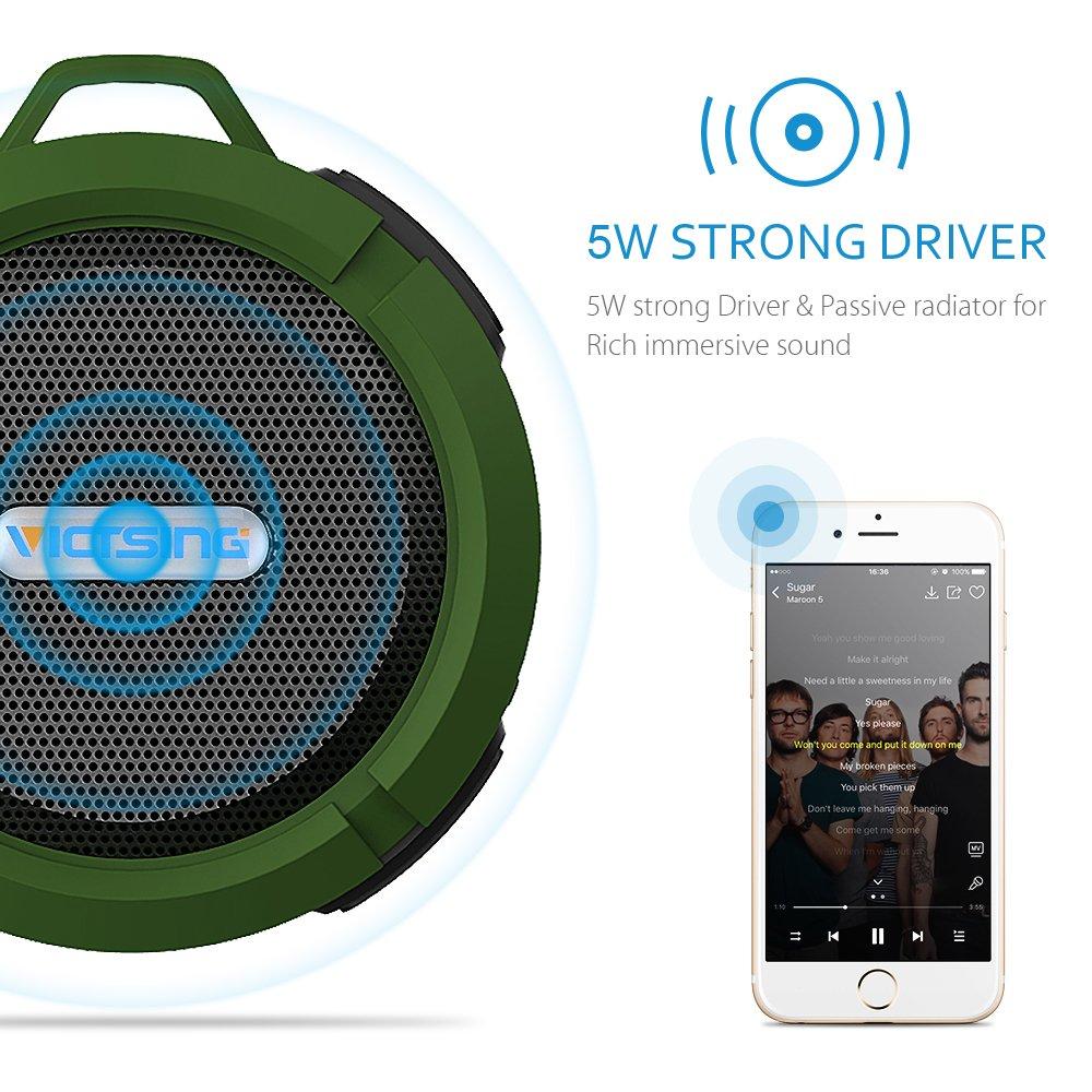 VicTsing Shower Speaker, Wireless Waterproof Speaker with 5W Drive, Suction Cup, Buit-in Mic, Hands-Free Speakerphone - Army Green