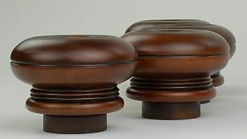 4 x madera maciza en la parte superior del - muebles de acero para muebles 80 mm Altura para sofás, sillas, taburetes - maceta con sistema de fijación