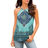 Vicbovo 2018 Fashion Women Boho Pattern Halter Neck Tank Tops Summer Sleeveless Blouse Shirts Cami Vest (Blue, M) (Color: Blue, Tamaño: Medium)