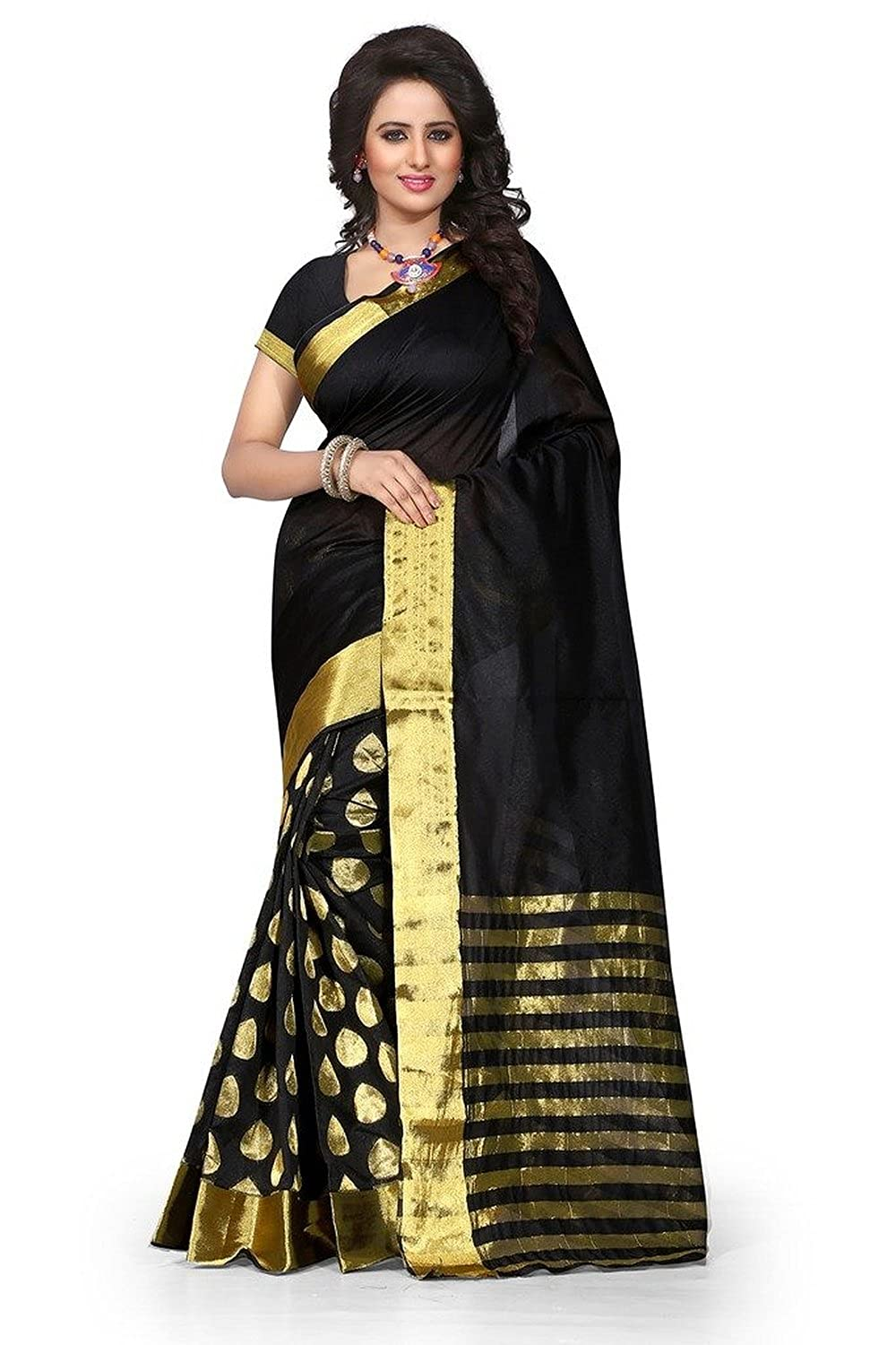 Stutti Fashion Self Design Womens Black Cotton Silk Saree