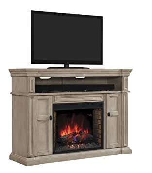 """Wyatt TV Stand for TVs up to 65"""", Soft Gray White (Electric Fireplace Insert sold separately)"""
