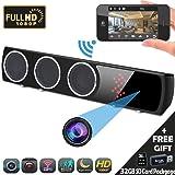 Hidden Camera 1080P WiFi HD Spy Bluetooth Speaker Wireless Mini Camera APP 24 Hours Real-time Monitoring, Black (Color: Black)