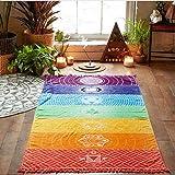 Bluelans Rainbow Stripe Bohemia Wall Hanging Blanket Tapestry Summer Beach Towel Yoga Mat (Color: Multicolor, Tamaño: 150cm x 75cm/59.06
