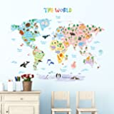 Decowall DLT-1615 Animal World Map Kids Wall Decals Wall Stickers Peel and Stick Removable Wall Stickers for Kids Nursery Bedroom Living Room (XLarge) (Color: Multicolor, Tamaño: Xlarge)