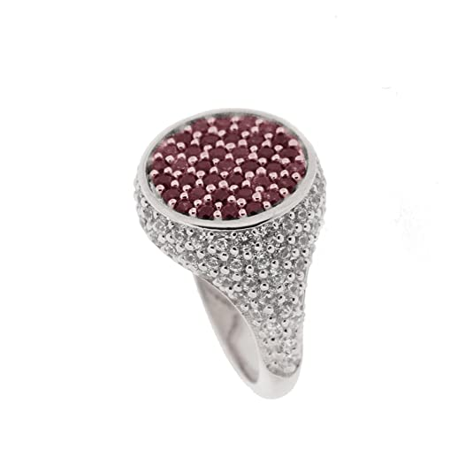BLOOBLOOD Silver Pinky ring with stones Swarovski Zirconia White/Red