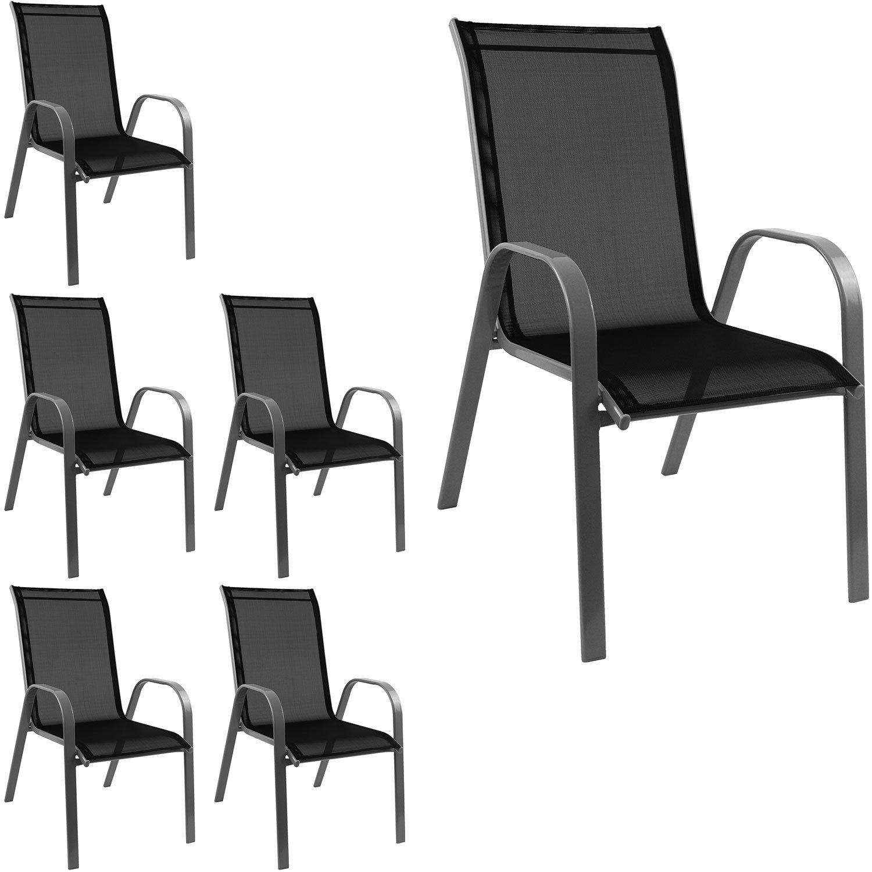 6 Stück Stapelstuhl Gartenstuhl stapelbar Stahlgestell pulverbeschichtet mit Textilenbespannung Gartenmöbel Balkonmöbel Terrassenmöbel Grau / Schwarz günstig