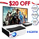Home Projector LCD LED Video Projector 4200 Lumens with Free Dual HDMI Support 1080P USB, Home Cinema Theater Projector for TV Laptop iPad iPhone Smartphone Mac Laptop Blu-Ray Player DVD Xbox PS3 PS4 (Color: WXGA HD projector/4200 lumens)