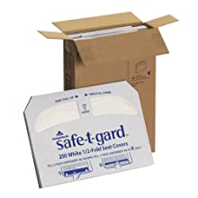 "Georgia-Pacific Safe-T-Gard 47052 White 1/2-Fold Toilet Seat Cover, 17.44"" Length x 14.5"" Width (Case of 4 Packs, 250 Per Pack)"