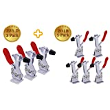 Hold Down Toggle Clamps Latch Antislip Red 201B (5 pcs) 200Lbs+225D (3pcs) 500lbs Hand Tool Holding Capacity Antislip Horizontal Quick Release Heavy Duty Toggle Clamp Tool