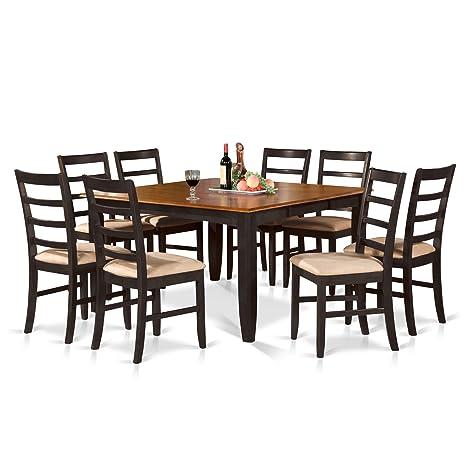 East West Furniture PARF9-BLK-C 9-Piece Dining Table Set