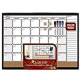 Quartet Magnetic Combination Calendar Dry Erase Board and Cork Board Value Pack, 17