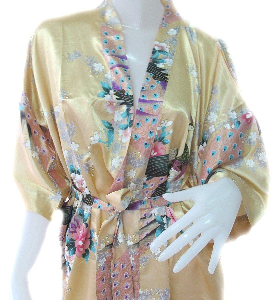 Thai Vintage Women's Gold Kimono Silk Satin Bath Wrap Robe Peacock Design 3