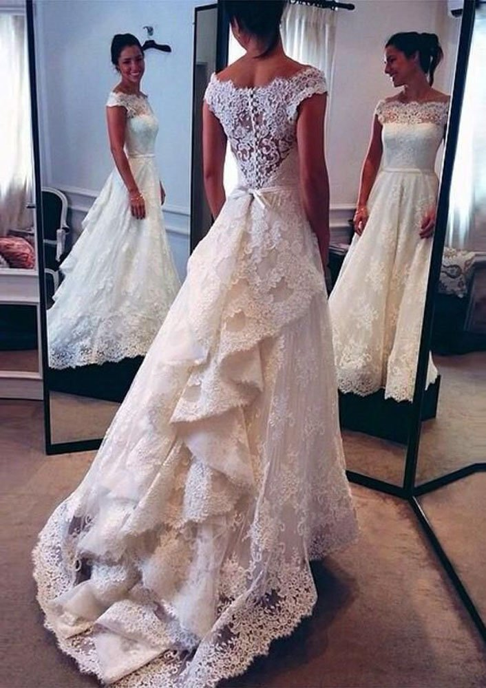 Lovelybride 2016 A Line Vintage Lace Wedding Dress Layers Skirt Bridal Gowns 1