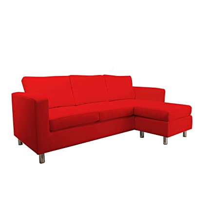 US Pride Sierra II Compact Sectional Sofa in Red Leatherette