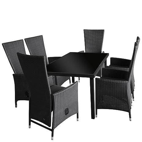 7tlg. Gartengarnitur - schwarzer Glastisch 150x90cm mit undurchsichtiger schwarzer Tischglasplatte + 6x Rattansessel mit Polyrattan Bespannung stufenlos verstellbare Ruckenlehne - Sitzgarnitur Sitzgruppe Gartenmöbel Terrassenmöbel Set