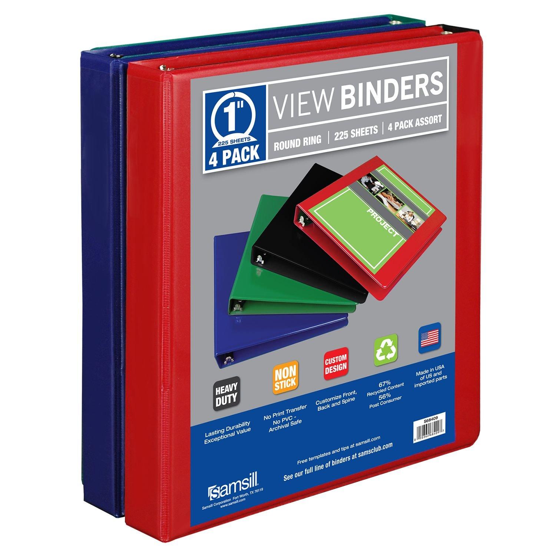 Samsill View Binder, 1, 4 Pack, Basic Assortment culture view level 1 dvd pack
