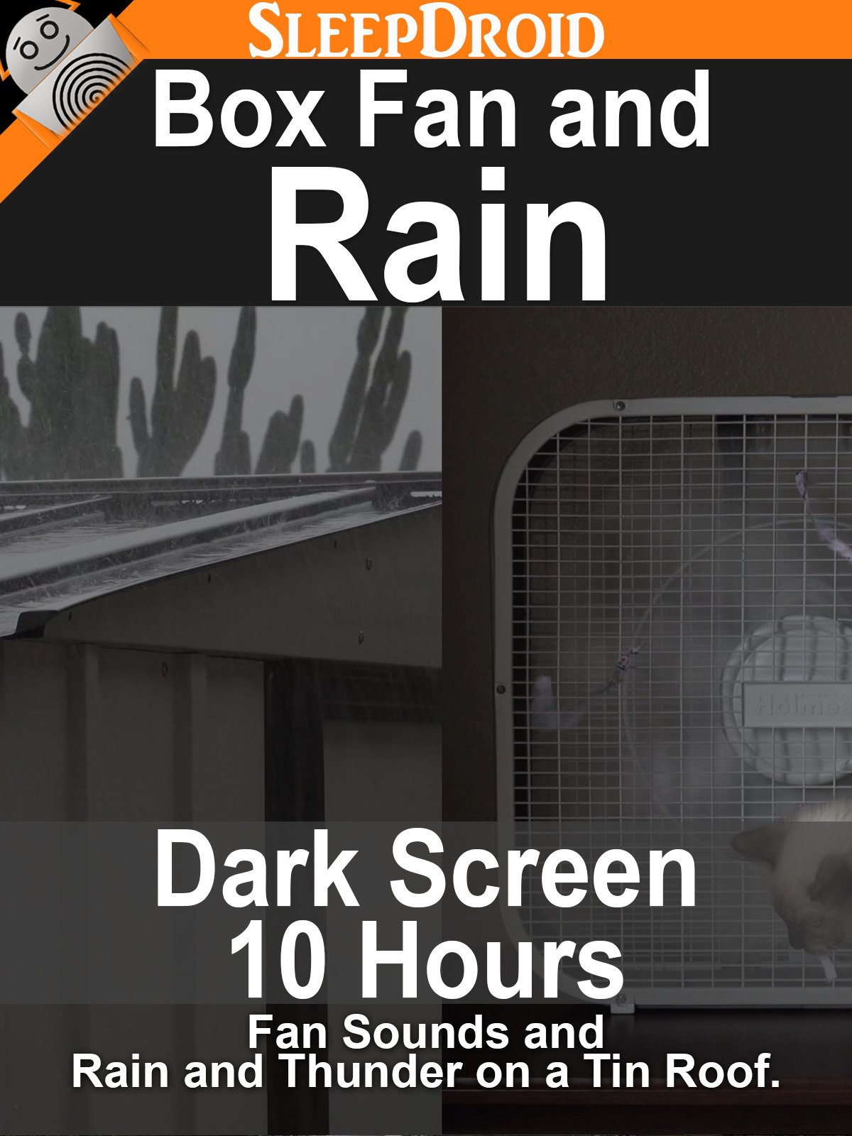 Box Fan and Rain: 10 hours of Dark Screen Fan Sounds and Rain and Thunder on a Tin Roof