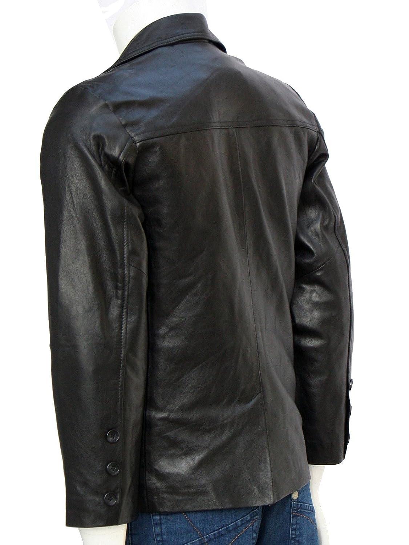 Xport Design's Men's Two Button Mission Black Blazer Leather Jacket