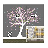LUCKKYY Three Playful Pandas Bear on Cherry Blossom Tree Wall Decal Tree Wall Sticker Nursery and Children's Room (White+Pink) (Color: White+pink)