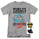 Popfunk Batman World's Greatest Dad T Shirt for Father's Day & Exclusive Stickers (XX-Large) (Color: Greatest Heather, Gray, Tamaño: XX-Large)