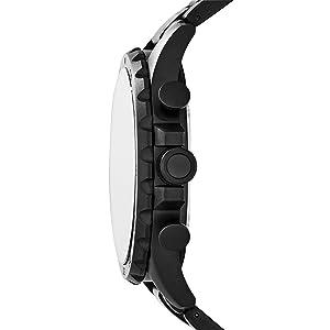 Fossil Men's Nate Quartz Stainless Steel Chronograph Watch, Color: Black (Model: JR1401) (Color: black, Tamaño: One Size)