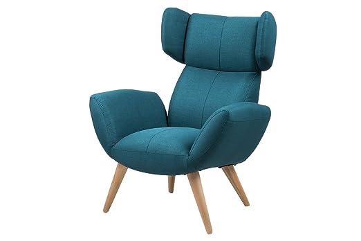 AC Design Furniture 63388 Loungestuhl Bianca, Stoff Corsica petrol, Beine Esche