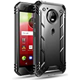 Poetic Revolution Moto E4 Rugged Case with Hybrid Heavy Duty Protection and Built-in Screen Protector for Moto E4 /Motorola Moto E 4th Generation Black (Color: Black)