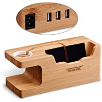 Tendak Apple Watch Charging Stand With 3 USB Port 3.0 Hub Bamboo Wood Dock