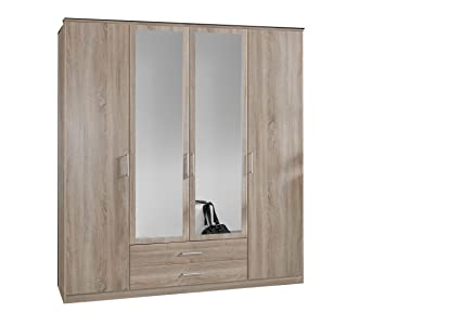Oak Effect 4 Door 2 Drawer Mirrored Wardrobe - German Made Quality - 3 Hanging Rails - Three High Shelves - Modern Metal Handles - Flat Packed For Home Assembly