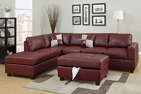 3-Pcs Burgundy Setional Sofa by Poundex