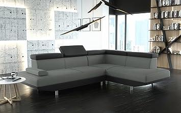 Canapé d'angle STARIO tissu gris et contour simili cuir noir moderne angle droit