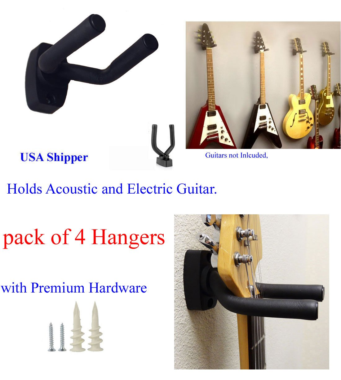 Top Stage GraK-Q4 Guitar Hangers Hooks Holders Wall Mount, 4-Pack